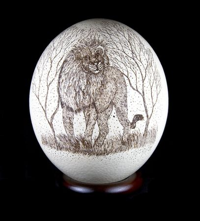 Ostrich Egg decorated with a Lion photo