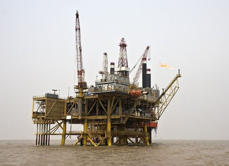 oil platform: Offshore oil production facility view from the supply boat