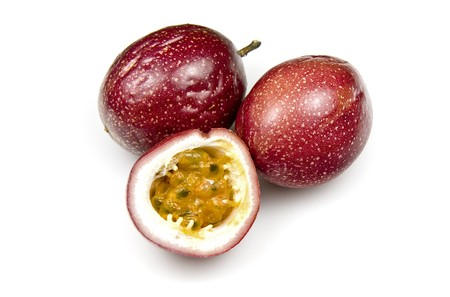 Slice of fresh Panama Passion Fruit on white background Stock Photo - 7678094
