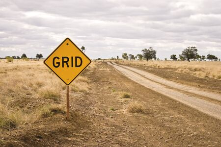 cattle grid: Road sign - Grid Stock Photo