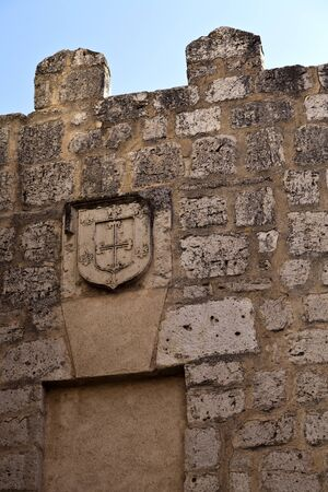 Coat of arms with six fleur-de-lis on a wall in Tordesillas,Spain photo