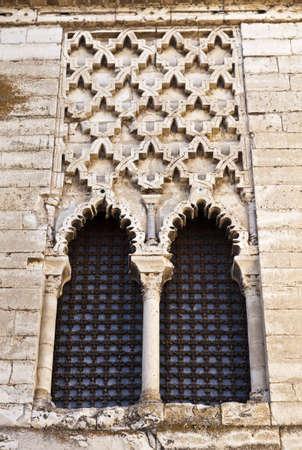 mudejar: Windows of the royal mudejar palace in Tordesilhas, Spain Stock Photo