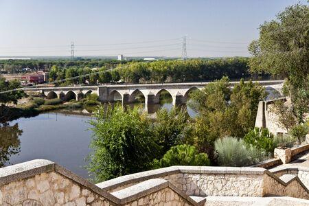 castile leon: The Duero River flowing through the city of Tordesillas, Spain