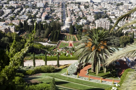 View of the Bahai Gardens in Haifa, Israel photo