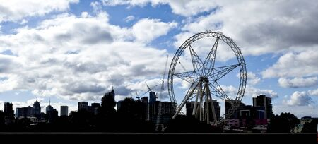 Melbourne skyline with the Ferris wheel under construction