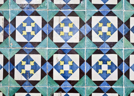 Traditional colored decorative tiles in downtown Ericeira, Portugal Stock Photo - 19911518