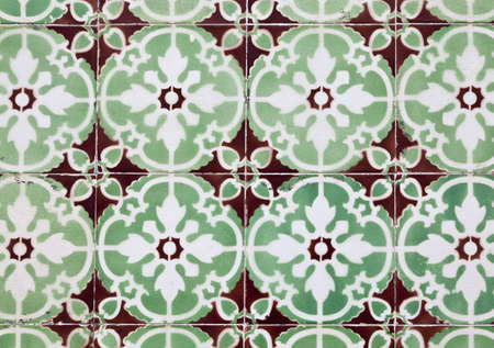 Traditional colored decorative tiles in downtown Ericeira, Portugal Stock Photo - 19911493