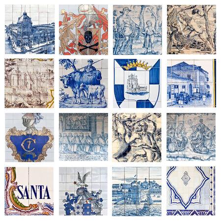 descriptive: Descriptive Portuguese Tiles Collage  Stock Photo
