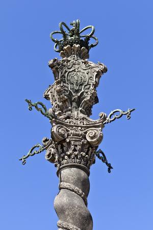 pastiche: Solomonic granite column in pastiche pseudo-baroque style built in the 40�s of the XX century outside the Porto Cathedral, Portugal