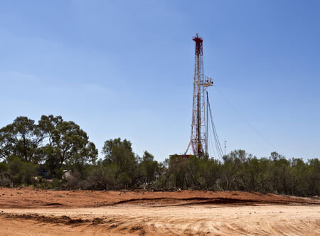 sequestration: Land rig drilling a CO2 storage well in the New South Wales outback, Australia Stock Photo