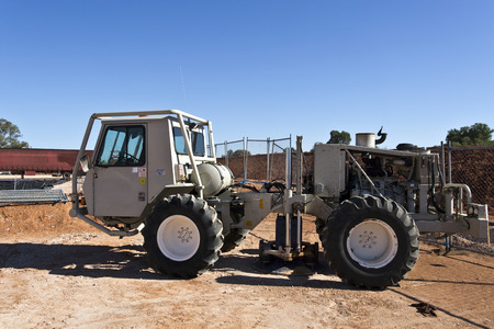seismic: Mobile seismic buggy equipped with a vibrator at rig site for a seismic survey Editorial