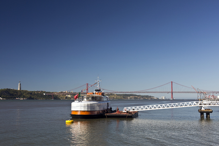tagus: River Tagus is the longest river in the Iberian Peninsula emptying into the Atlantic Ocean near Lisbon