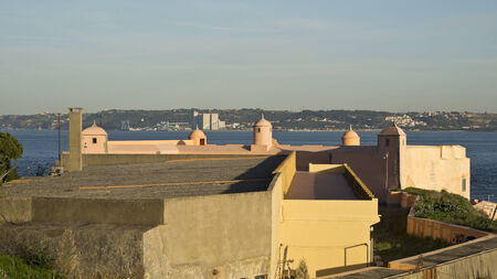 tagus: The Fortress and the River Tagus Stock Photo