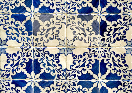 traditional pattern: Traditional blue colored tiles decorating old Lisbon buildings. Stock Photo