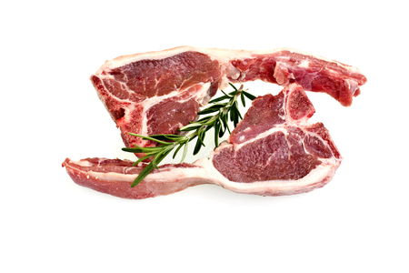 loin chops: Raw lamb loin chops with rosemary and fat around the meat isolated over white background