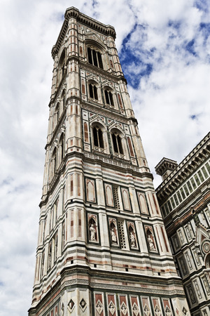 campanile: The Giotto?s Campanile is a free-standing campanile that is part of the complex of buildings that make up Florence Cathedral Stock Photo