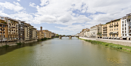 trinita: Ponte Santa Trinita medieval Bridge landmark on Arno rive. Editorial
