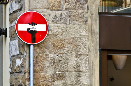 A funny No Entry Sign on a street in Florence, Italy