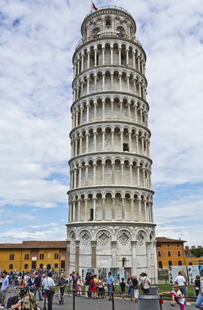 recognized: People visiting the Leaning Tower of Pisa in Tuscany, one of the most recognized buildings in the world.