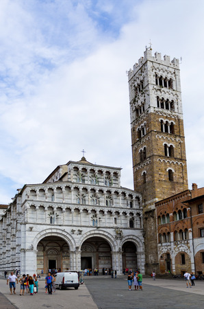 the campanile: The Pisan-Romanesque Cathedral of Saint Martin and Campanile in Lucca, Tuscany, Italy,