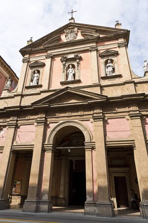 neoclassical: View of the Neoclassical facade of the church of San Benedetto in Bologna, Italy.