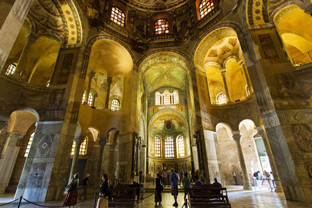 ravenna: Tourists visiting the Basilica of San Vitale in Ravenna, Italy