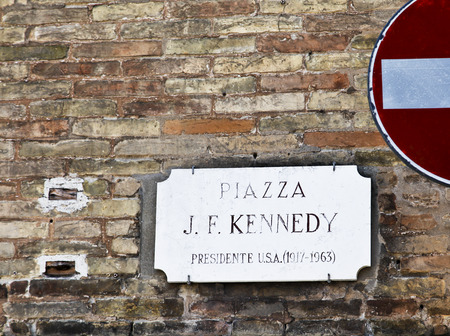 tribute: Tribute to former USA President J. F. Kennedy in Ravenna, Italy