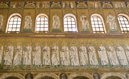 the prophets: The procession of the Martyrs on the lowest strip. Saints and Prophets on the central strip and on the highest strip are scenes of the Passion of Christ.
