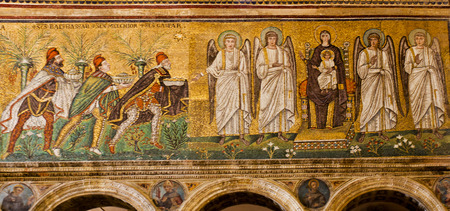 wise men: The three Wise Men bearing gifts (left) and Madonna and Child with the Angels (right)