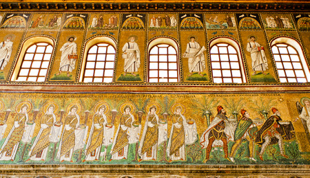 the prophets: The procession of female saints on the lowest strip. Saints and Prophets on the central strip and on the highest strip are scenes of Christ miracles and parables.