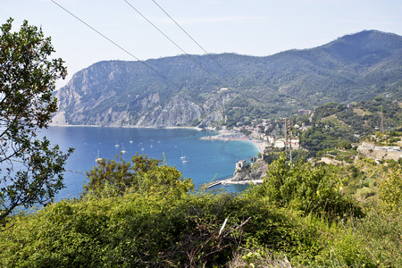 rugged: The Cinque Terre Coast is a rugged portion of coast on the Italian Riviera. Stock Photo