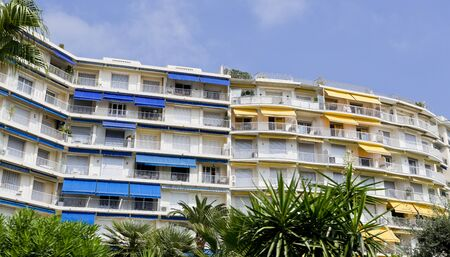 awnings: Luxury accommodation for wealthy tourists along the Boulevard de la Croisette in Cannes, Cote d?Azur, France