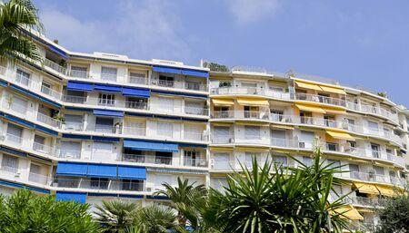 awnings windows: Luxury accommodation for wealthy tourists along the Boulevard de la Croisette in Cannes, Cote d?Azur, France