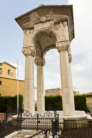 residents: The war memorial in Grasse, France, commemorates the residents of Grasse who were killed or missing in the World War I