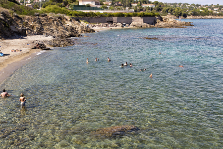 warm water: Enjoying the warm water of the Mediterranean Sea in the French Riviera Editorial