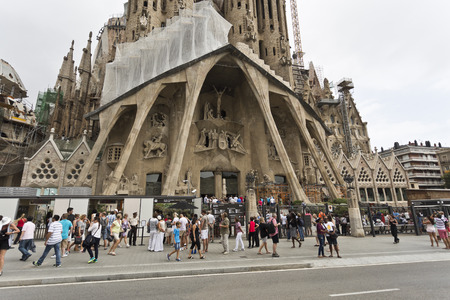 View of the Passion Facade of the Basilica of the Holy Family Sagrada Familia in Barcelona Spain Stock Photo