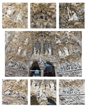 sacra famiglia: Dettagli del pluridecorato facciata della Nativit� della Basilica della Sacra Famiglia a Barcellona Spagna