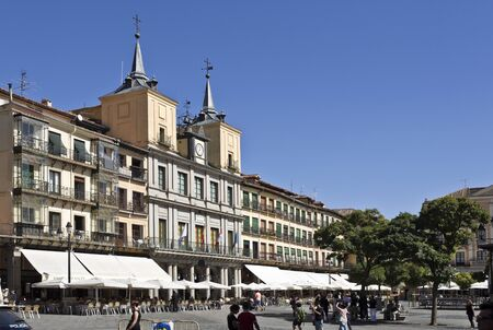locals: Tourists and locals alike enjoying life in Plaza Mayor, Segovia, Spain
