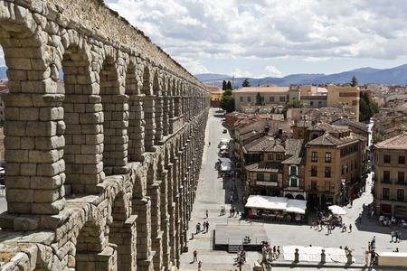 segovia: The ancient roman aqueduct bridge in Segovia, Spain.