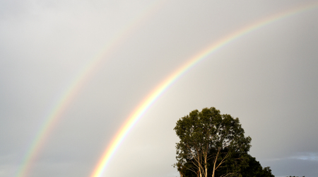 Double rainbow in late afternoon after a good rain in Redcliffe, Queensland, Australia