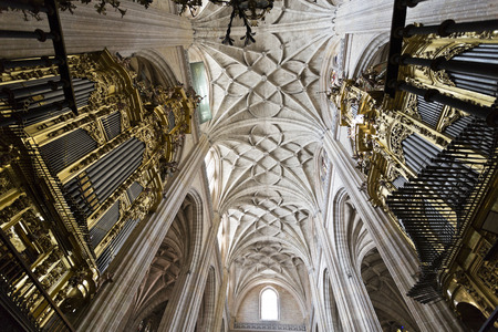 View of the ceiling and the pipe organs of the Cathedral of Segovia, Spain. Stock Photo