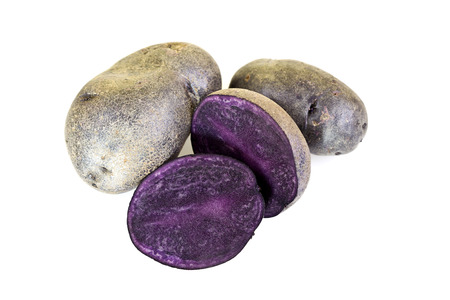 morado: Dicha p�rpura patatas son una nueva variedad de patata que muestran un color morado oscuro en toda la piel y la carne Foto de archivo