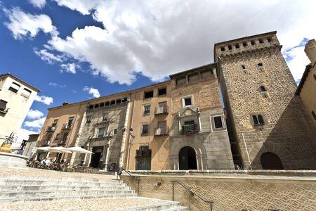 segovia: View of the Plaza of San Martin with the Torreon de Lozoya in Segovia, Spain
