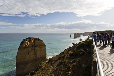 apostles: Backlit image of tourists standing on the Twelve Apostles lookout in Victoria, Australia Editorial
