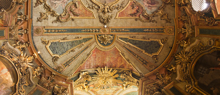 designed: The 18th century Queluz National Palace is one of the last great Rococo buildings to be designed in Europe. In the picture, detail of the ceiling of the royal chapel.