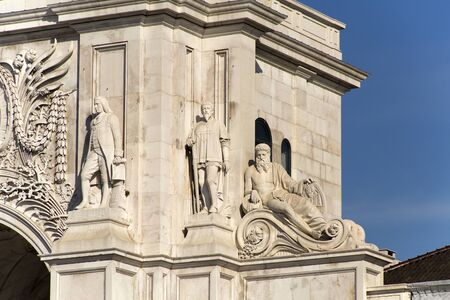 augusta: Detail of the Rua Augusta Arch, a stone triumphal arch-like in Lisbon, Portugal, built to commemorate the citys reconstruction after the 1755 earthquake.