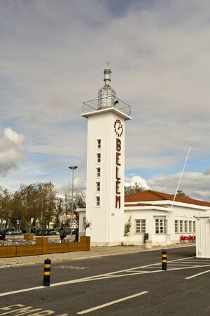 ironwork: The deactivated lighthouse of the ferry terminal of Belem in Lisbon, Portugal.