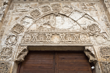 isabel: Door to the Convent of Santa Isabel de los Reyes in Toledo, Spain. It was built during the Catholic Monarchs period 1500. Stock Photo