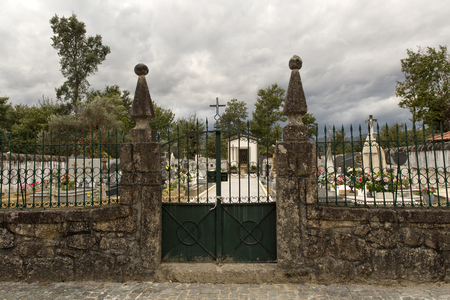 angel headstone: View of the old cemetery of Vilar, Terras de Bouro, Portugal