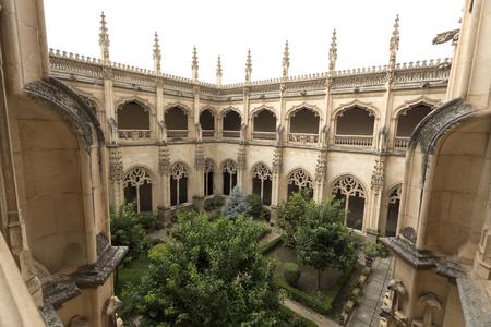 View of the upper cloister and garden of the Monasterio de San Juan de los Reyes in Toledo, Spain
